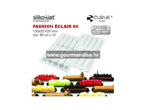 FASHION ÉCLAIR, silikonski kalup, dimenzija 130x25mm, visina 25mm + rezač + 10 podloga