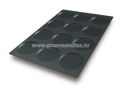 SQ013 - KRUG, N. 12 , crni silikonski kalup, 120mm, visina 10mm, 600x400mm